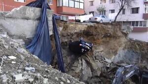 Maltepede inşaat temel kazısında istinat duvarı çöktü