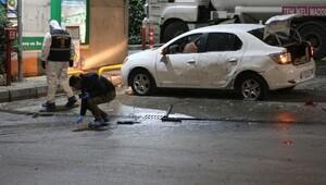 Benzinlikte park halindeki araca el yapımı patlayıcı atıldı
