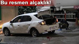 Benzinlikteki otomobile patlayıcı atıldı, faciadan dönüldü