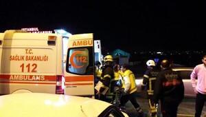 Çorluda iki otomobil çarpıştı: 4 yaralı