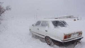 Karamanda ulaşıma kar engeli