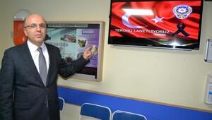 Kayseri'de Devlet Hastaneleri bilgilendirme ekranında terörü lanetledi