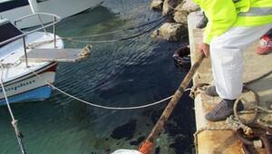 Çeşmede denize sızan yakıt kirliliği temizleniyor