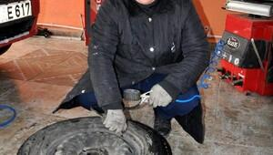 Kadın girişimci, KOSGEB kredisi ile oto lastik tamirhanesi açtı