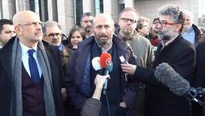 Enis Berberboğlu ile Erdem Gülden adliye önüne açıklama