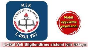 E Okul Veli Bilgilendirme Sistemi giriş işlemi VBS mobil uygulamada