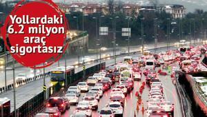 6.2 milyon araç SİGORTASIZ