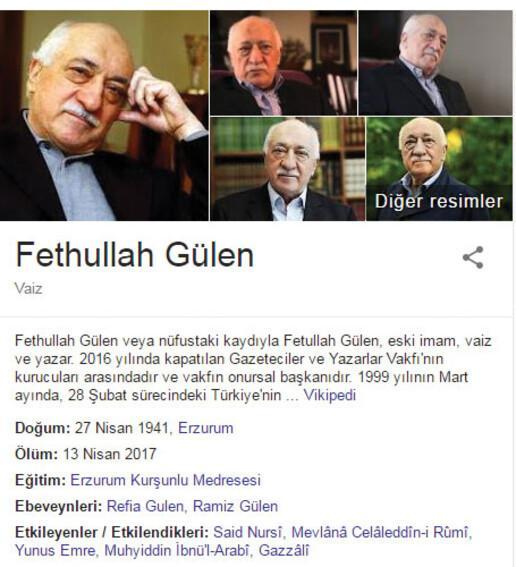Google, Fetullah Gülenin ölüm tarihini verdi