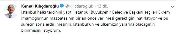Kılıçdaroğlu'ndan Ekrem İmamoğlu açıklaması