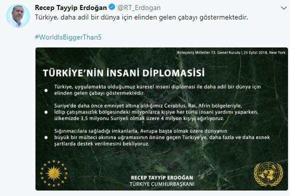Cumhurbaşkanı Erdoğan Twitter'da paylaştı: Dünya 5'ten büyüktür