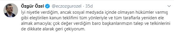 Son dakika... CHP'li Özgür Özel tepki gören kanun teklifini geri çekti