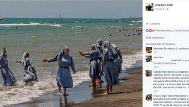 Facebook, denize giren rahibelerin fotoğrafını paylaşan imamın hesabını dondurdu