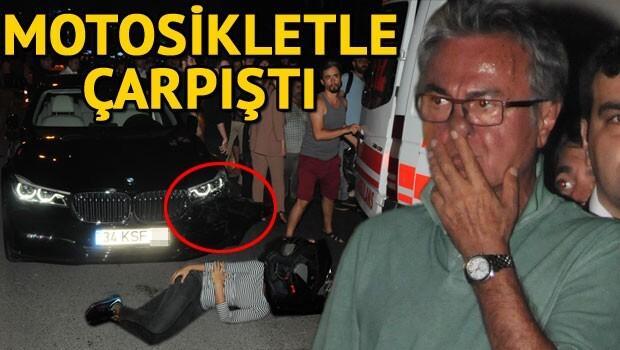Hasan Kosif'in otomobili motosikletle çarpıştı