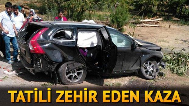 İzinci ailenin otomobili devrildi: 1 ölü, 5 yaralı