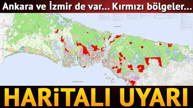 Haritalı uyarı: Kırmızı bölgeler...