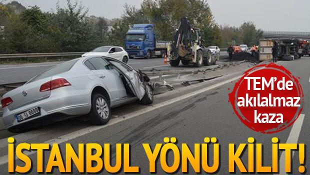 Asfalt yüklü kamyon devrildi: 2 yaralı