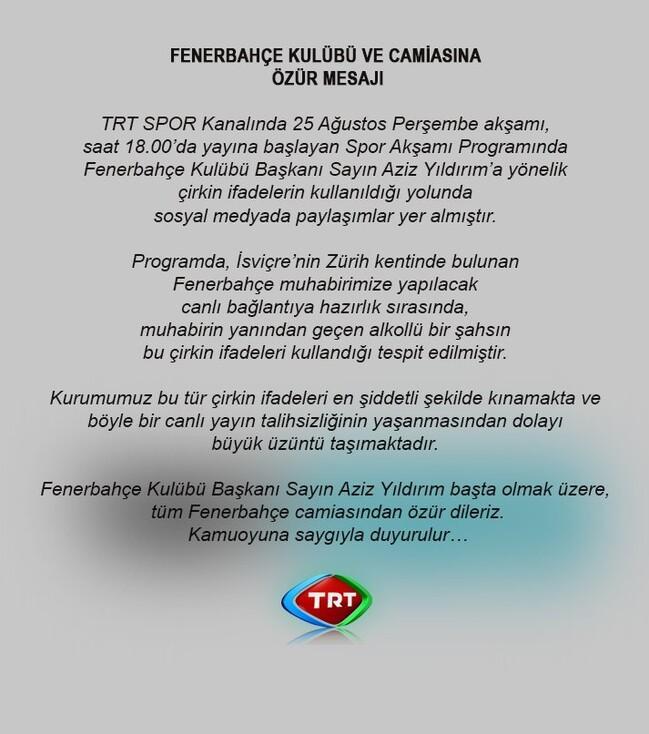 TRT Spor'da ilginç olay! Fenerbahçeliler ayakta