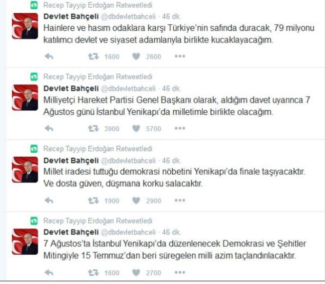 Cumhurbaşkanı Erdoğan, Bahçeli'nin mesajlarını retweet etti