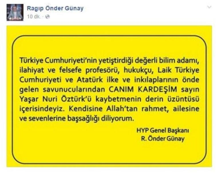 İlahiyat Profesörü Yaşar Nuri Öztürk hayatını kaybetti