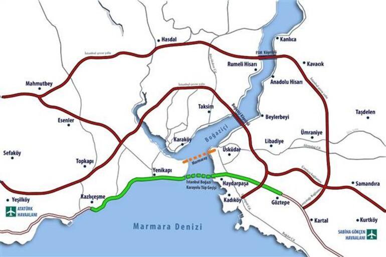 Az Avrasya Tüneli  útvonala (zöld) - Forrás: Hürriyet