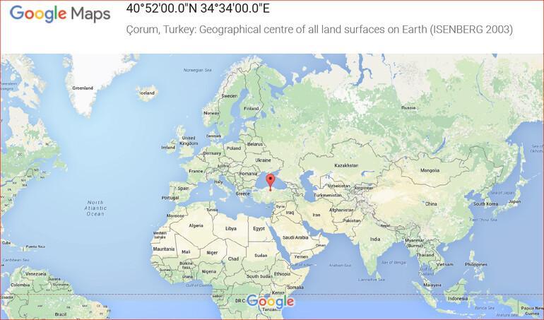 Google gerçekten Çorum'u 'dünyanın coğrafi merkezi' ilan etti mi?