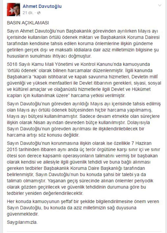Başbakan Davutoğlu iddialara Facebook'tan yanıt verdi