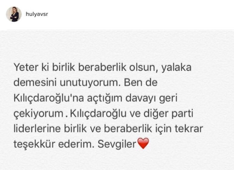 Hülya Avşar Kemal Kılıçdaroğlu'na açtığı davayı geri çekti