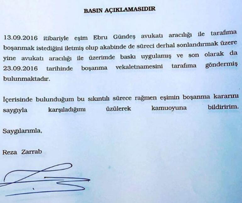 Son dakika haberi... Ebru Gündeş ile Reza Zarrab boşanıyor