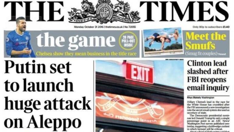 The Times: Putin Halepe saldırıya hazırlanıyor