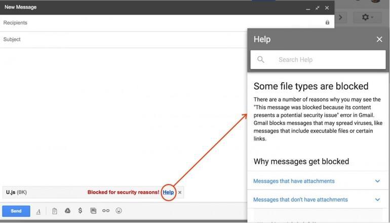 Gmail o dosyaları bir bir engelleyecek