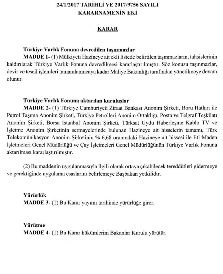 Son dakika: Ziraat Bankası, PTT, BİST, BOTAŞ, Çaykur, Eti Maden, Türksat Varlık Fonuna devredildi