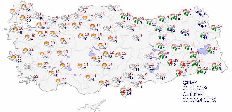Meteoroloji'den hafta sonu için yağmur uyarısı... 2 3 Kasım Türkiye geneli il il hava durumu tahminleri