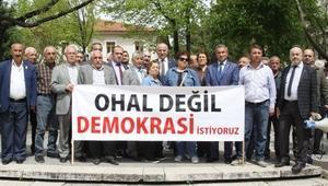Çankırıda CHPden OHALe karşı oturma eylemi