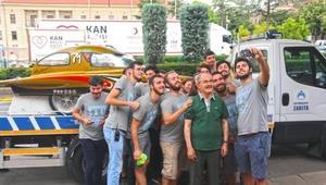 Güneş arabası ekibinden başkan Büyükerşene ziyaret