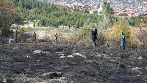 Kütahyadaki arazi yangınını polisler TOMA ile söndürdü
