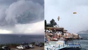 Antalyada şezlong ve şemsiyeler uçtu... Görüntüler ortaya çıktı