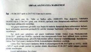 Mahkeme Demirtaşı Şırnaka istedi, Jandarma güvenlik riski var dedi