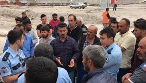 Aksarayda inşaat işçilerinden eylem