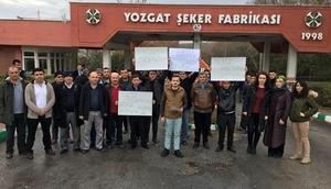 Yozgat Şeker Fabrikası önünde işçilerden kadro eylemi