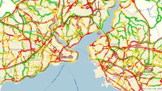 İstanbul'da trafik yoğunluk oranı yüzde 90'a ulaştı