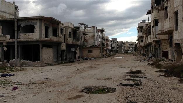 La distruzione del quartiere Baba Amr (Homs), dove è stata uccisa Marie Colvin. 11 febbraio 2013. Credist to: AFP.