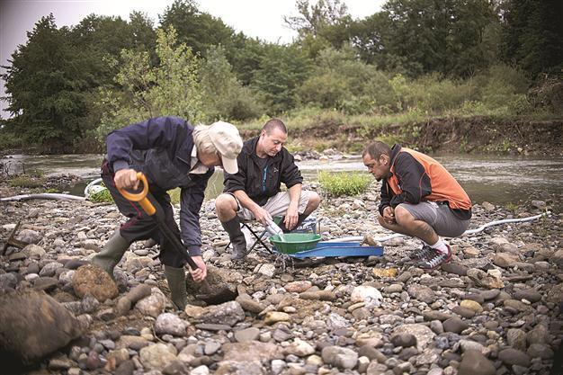 groupes de chercheurs d'or dans un banc de gravier aurifère