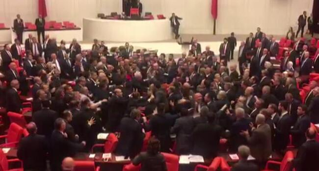 Fight erupts at Turkish Parliament
