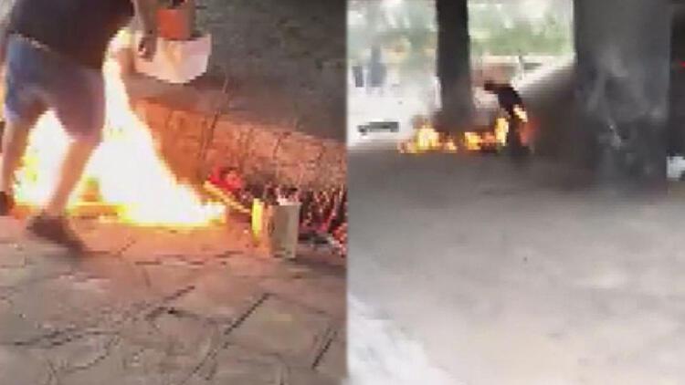 Arjantin'de evsizlerin üzerine alkol döküp yaktılar