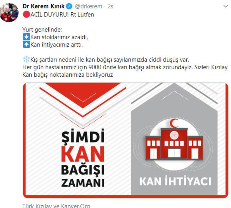 Kızılay Başkanı sosyal medyadan seslendi: Acil duyuru