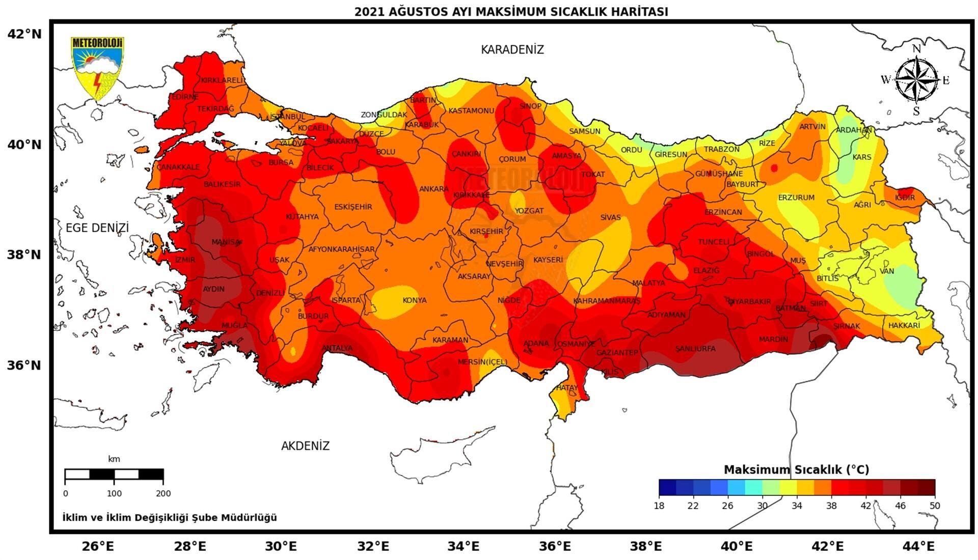 Son dakika: Meteoroloji'den sıcaklık haritası! Son 50 yılın en sıcak 6'ncı Ağustos'u