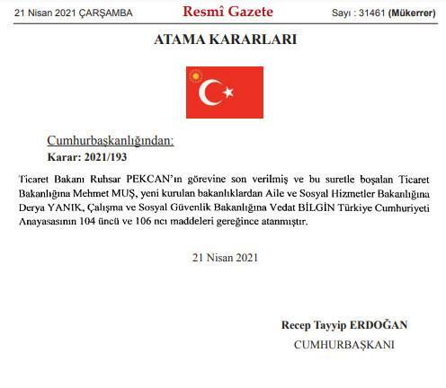 Son dakika haberi: Resmi Gazete'de yayımlandı! Kabine değişikliği açıklandı...