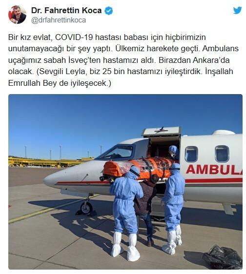 İsveç'te tedavisi yapılmayan Türk vatandaşı Ankara'da
