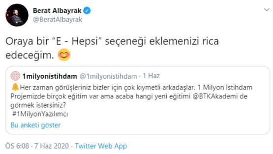 """Bakan Albayrak o soruya Twitter'dan yanıt verdi: Oraya bir """"E - Hepsi"""" seçeneği eklemenizi rica edeceğim"""