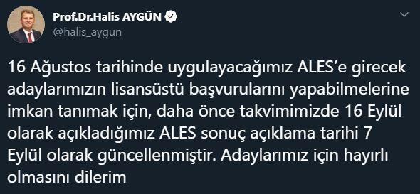 ALES sonuç tarihi değişti.. İşte ÖSYM Başkanı Halis Aygün'ün açıklaması
